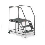 EGA Mobile Work Platform 5-Step Grip Strut W/ Handrails, Gray 800Lb. Capacity - W043