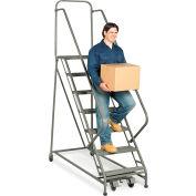 "EGA Steel EZY-Climb Ladder w/ Handrails 3-Step, 24"" Wide Perforated, Gray, 450 lb. Cap. - Z022"