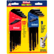 "Eklind 13222 .050-3/8"" & 1.5MM-10MM 22Pc. Ball End Combo Metric & SAE Hex Key Set"