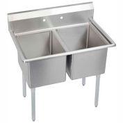 """Elkay 2C18X24-0X NSF Sink, 2-Compartment w/18""""L x 24""""W Bowl, 12"""" Deep"""
