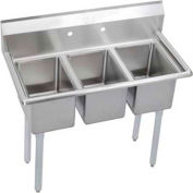 """Elkay 3C10X14-0X NSF Sink, 3-Compartment w/10""""L x 14""""W Bowl, 12"""" Deep"""