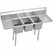 "Elkay 3C10X14-2-16X NSF Sink, 3-Compartment w/10""L x 14""W Bowl, 12"" Deep, (2) 16"" Drainboards"