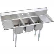"""Elkay 3C12X16-2-12X NSF Sink, 3-Compartment w/12""""L x 16""""W Bowl, 12"""" Deep, (2) 12"""" Drainboards"""
