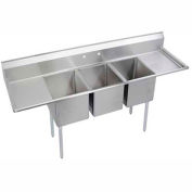 "Elkay 3C16X20-2-18X NSF Sink, 3-Compartment w/16""L x 20""W Bowl, 12"" Deep, (2) 18"" Drainboards"