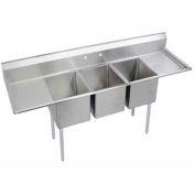 """Elkay 3C18X24-2-18X NSF Sink, 3-Compartment w/18""""L x 24""""W Bowl, 12"""" Deep, (2) 18"""" Drainboards"""