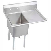 "Elkay E1C16X20-R-18X NSF Sink, 1-Compartment w/16""L x 20""W Bowl, 12"" Deep, (1) 18"" Right Drainboard"