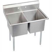 """Elkay E2C16X20-0X NSF Sink, 2-Compartment w/16""""L x 20""""W Bowl, 14"""" Deep"""