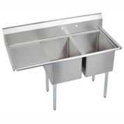 "Elkay E2C20X20-L-20X NSF Sink, 2-Compartment w/20""L x 20""W Bowl, 12"" Deep, (1) 20"" Left Drainboard"