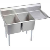 "Elkay E2C20X20-R-20X NSF Sink, 2-Compartment w/20""L x 20""W Bowl, 12"" Deep, (1) 20"" Right Drainboards"