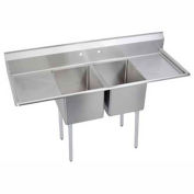"Elkay E2C24X24-2-24X NSF Sink, 2-Compartment w/24""L x 24""W Bowl, 12"" Deep, (2) 24"" Drainboards"