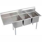 "Elkay E3C20X20-L-20X NSF Sink, 3-Compartment w/20""L x 20""W Bowl, 12"" Deep, (1) 20"" Left Drainboard"