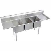 """Elkay E3C24X24-2-24X NSF Sink, 3-Compartment w/24""""L x 24""""W Bowl, 12"""" Deep, (2) 24"""" Drainboards"""