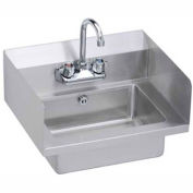 Elkay EHS-18-SDX Wall Economy Hand Sink w/ 14x10x5-in Bowl & Faucet, L-R Splash, Overflow