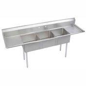 """Elkay S3C18X18-2-18X NSF Sink, 3-Compartment w/18""""L x 18""""W Bowl, 14"""" Deep, (2) 18"""" Drainboards"""