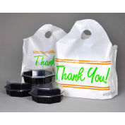 """Printed """"Thank You"""" Take Out Bag with Bell Top Handle - 16.5"""" x 14"""" Pkg Qty 500"""