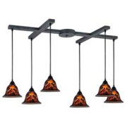 "ELK 10144/6FS Firestorm 6-Light Pendant, Satin Nickel, 33""W x 17""D x 6.5""H"