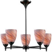"ELK 10155/5DR-CR Celina 5-Light Chandelier, Dark Rust And Creme Glass, 28""W x 8.5""H"