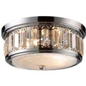 """ELK 11226/2 Flush Mount 2-Light Crystal Drum, Polished Chrome, 13""""W x 6""""H"""