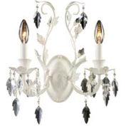 """ELK 12016/2 Crystal Leaf 2-Light Sconce, Antique White, 13""""W x 5.5""""D x 15""""H"""