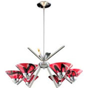 "ELK 1475/6MAR 6 Light Chandelier, Polished Chrome And Mars Glass, 26""W x 13""H"