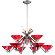 "ELK 1476/6+3MAR 9 Light Chandelier, Polished Chrome And Mars Glass, 31""W x 16""H"