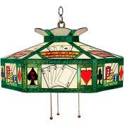 Landmark 216-TX Texas Hold' Em 3-Light Chandelier, Antique Brass With Tiffany