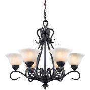 Landmark 256-BK Buckingham 6-Light Chandelier, Matte Black