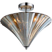 "ELK Lighting 31253/3 Crystal Flushmounts Flushmount, Polished Chrome Finish, 16""W x 14""H"