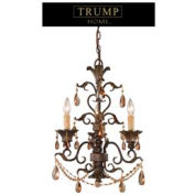 """ELK 3343/3 3 Light Chandelier With Amber Crystal, 18""""W x 24""""H"""