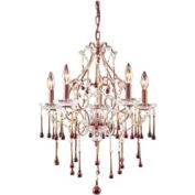 "ELK 4012/5AMB 5 Light Chandelier, Rust And Amber Crystal, 20""W x 25""H"