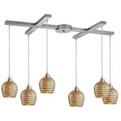 "ELK 528-6GLD 6 Light Pendant, Satin Nickel And Gold Mosaic Glass, 33""W x 17""D x 9""H"