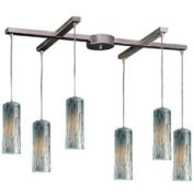 "ELK 551-6MD 6 Light Pendant, Satin Nickel With Maple Dusk, 33""W x 17""D"