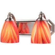 """ELK 570-2N-M 2 Light Vanity, Satin Nickel And Multi Glass, 14""""W x 8""""D x 7""""H"""