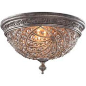 "ELK 6232/4 4 Light Flush Mount, Sunset Silver And Crystal Accents, 16""W x 11""H"