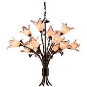 "ELK 7959/8+4 12 Light Chandelier, Aged Bronze And Hand Blown Tulip Glass, 29""W x 24""H"