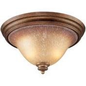 "ELK 9319/2 2 Light Flush Mount, Mocha And Antique Amber Glass, 16""W x 9""H"
