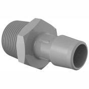 "Eldon James 3/4-14 NPT to 5/8"" Barbed Adapter, Gray Kynar"