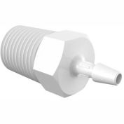 "Eldon James 1/4-19 BSP to 1/8"" Barbed Adapter, White Polypropylene"