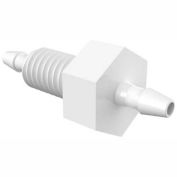 "Eldon James 10-32 UNF to 1/16"" x 1/16"" Barbed Bulkhead Adapter, High Density Polyethylene"