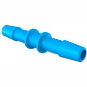 "Eldon James 1/4"" Barbed Straight Coupler, Antimicrobial High Density Polyethylene"