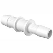 "Eldon James 1/2"" to 3/8"" Barbed Reduction Coupler, White Polypropylene"