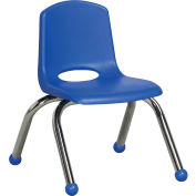 "10"" Stack Chair-Chrome Blue Top Chrome Legs, Priced Ea, Sold 6/PK - Pkg Qty 6"