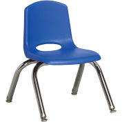 "10"" Stack Chair-Chrome Blue Top Chrome Legs W/ Glide, Priced Ea, Sold 6/PK - Pkg Qty 6"
