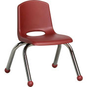 "10"" Stack Chair-Chrome Burgundy Top Chrome Legs, Priced Ea, Sold 6/PK - Pkg Qty 6"