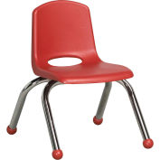 "10"" Stack Chair-Chrome Red Top Chrome Legs, Priced Ea, Sold 6/PK - Pkg Qty 6"