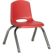 "10"" Stack Chair-Chrome Red Top Chrome Legs W/ Glide, Priced Ea, Sold 6/PK - Pkg Qty 6"