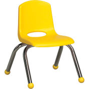 "10"" Stack Chair-Chrome Yellow Top Chrome Legs, Priced Ea, Sold 6/PK - Pkg Qty 6"