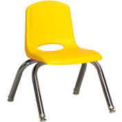 "10"" Stack Chair-Chrome Yellow Top Chrome Legs W/ Glide, Priced Ea, Sold 6/PK - Pkg Qty 6"