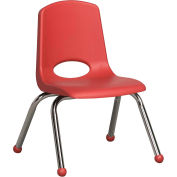 "12"" Stack Chair-Chrome Red Top Chrome Legs, Priced Ea, Sold 6/PK - Pkg Qty 6"
