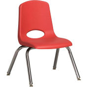 "12"" Stack Chair-Chrome-Red Top Chrome Legs W/ Glide, Priced Ea, Sold 6/PK - Pkg Qty 6"